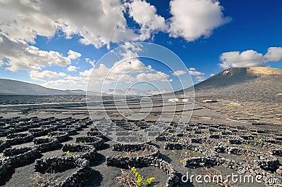 Volcanic desert landscape, Lanzarote island - Timanfaya - Spain