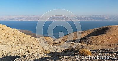 Desert landscape near the Dead Sea at sunset