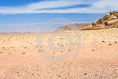 Desert landscape  of Wadi Rum