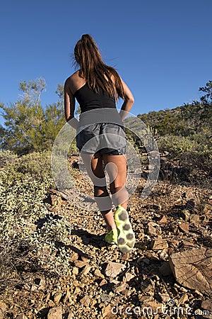 Free Desert Mountain Trail Female Runner Royalty Free Stock Photography - 47450777