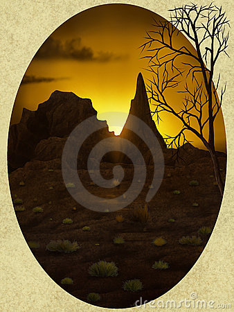 Desert Oval Vista - Digital Painting