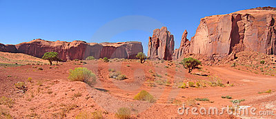 Desert with red rocks