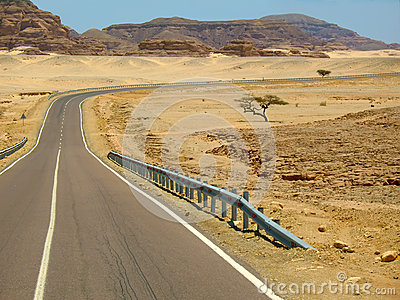 Desert road in Egypt