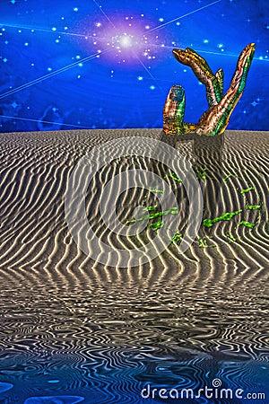 Desert Scene with Giant Sculpture