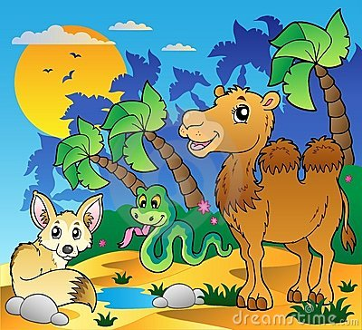 Desert scene with various animals 1
