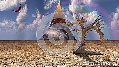 Desert sky peels open revealing other lands