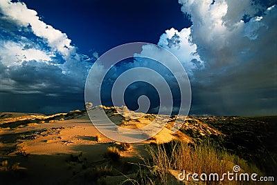 Desert storm sunset