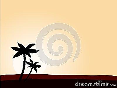 Desert sunrise background with black palm tree