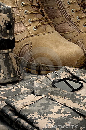 Free Desert Tactical Boots And Military Tag Chains Stock Photos - 14566073