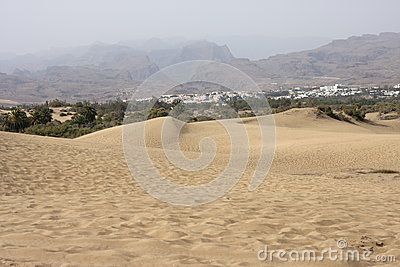 Desert and volcanic mountains on Gran Canaria, Canary Islands, Spain