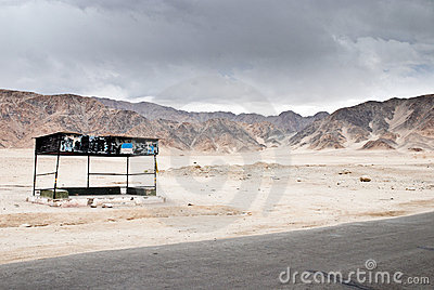 Deserted bus stop in Ladakh