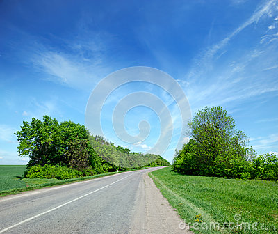 Deserted road in the remote rural areas