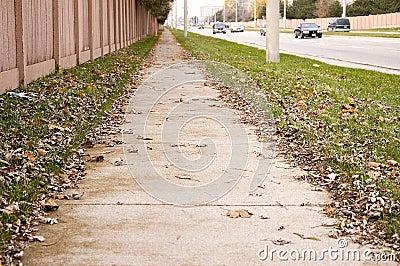 Deserted sidewalk