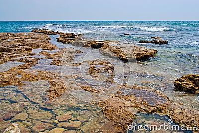 Deserted stony seacoast