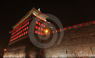 Deshengmen Arrow Tower at night, Beijing.