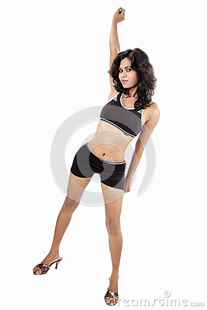 Desi girl on white background