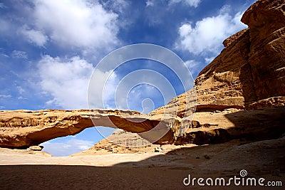 Desierto Jordania del ron del lecho de un río seco