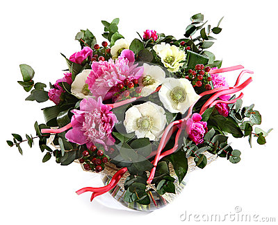 Design a bouquet of pink peonies, white poppies, and hypericum. Pink flowers, white flowers. Flower arrangement isolated on white