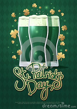 Free Design Concept With Three Beer Glasses And Lettering: St. Patrick`s Day. Royalty Free Stock Images - 111089339