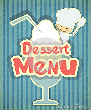 Design of Dessert menu with chef and Ice Cream