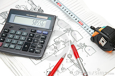 Design drawings, calculator, p