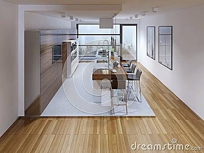 design einer modernen k che mit insel stockfoto bild 59220193. Black Bedroom Furniture Sets. Home Design Ideas