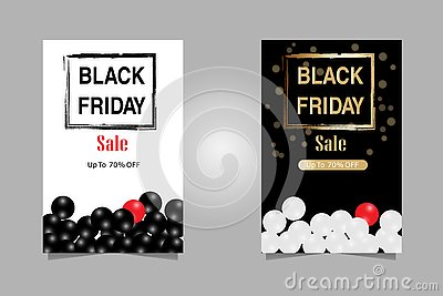 Vector Illustration. Luxury Set Black Friday Sales Banner text for brochure, flyer and banner Vector Illustration