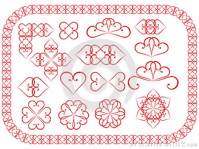 Design elements made of valentines