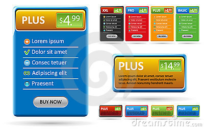 Design elements for price list or web banner.