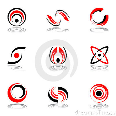 Design elements in red-and-black colors #4.