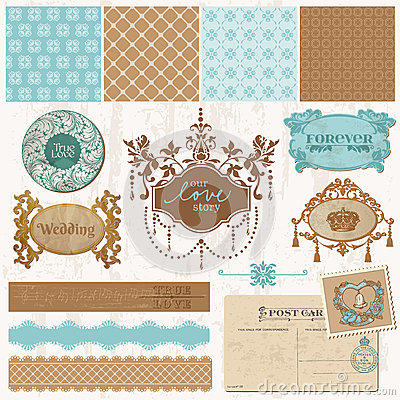 Free Design Elements - Vintage Wedding Set Royalty Free Stock Image - 27282016