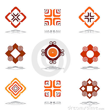 Design elements in warm colors. Set 3.