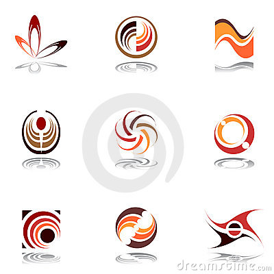 Design elements in warm colors. Set 9.