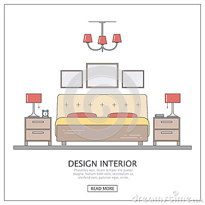 Design Interior Bedroom Modern Furniture With Thin Line Concept For Website Or Infographic