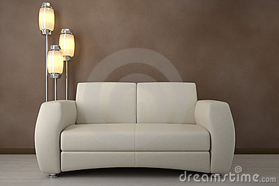 Design interior. Sofa in room