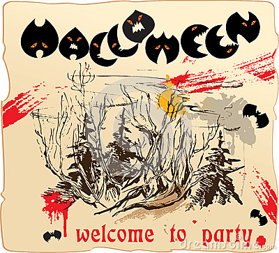Design of invitation card to Halloween party