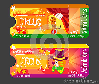 Design for invitations tickets to the circus Vector Illustration