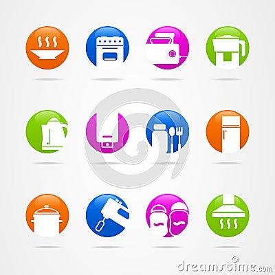 Design Kitchen Logo icon button cookware Vector Illustration