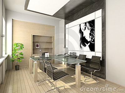 Design of modern office hi tech interior stock photo for Modern tech office design