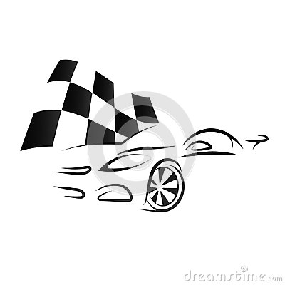 Free Design Of Car And Checkered Flag Royalty Free Stock Photo - 97620575