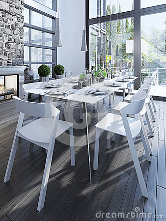 Free Design Of Dining Room With White Furniture Stock Photo - 59221370