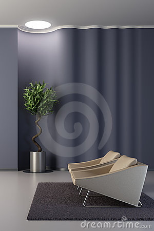 Free Design Of The Lounge Room With Wavy Wall Stock Images - 10470634
