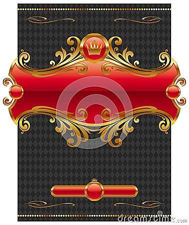 Design with ornate golden frame