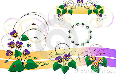 Design parts with bouquets of violets-pansy.Detail