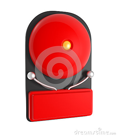 Design Pattern of Red Fire Alarm isolated on white