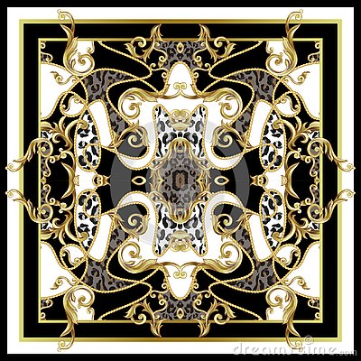 Free Design Scarf With Leopard Skin And Golden Baroque Elements. Vector. Stock Image - 131525081