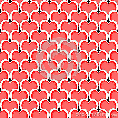 Design seamless red heart diagonal background