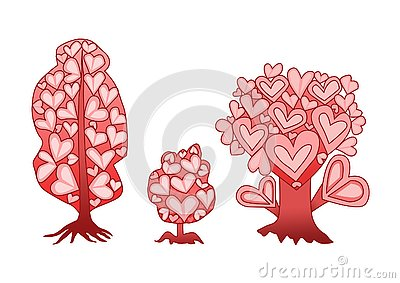 Design tree heart pink on white background Stock Photo