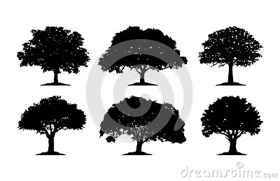 Oak Tree Silhouette Cliparts Vector Illustration