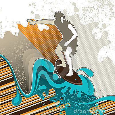Free Designed Surfing Banner Royalty Free Stock Photography - 14833787